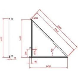 Estructura metálica Saclima L-21 para 4 paneles solares térmicos en superficie horizontal.