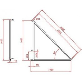 Estructura metálica Saclima L-21 para 5 paneles solares térmicos en superficie horizontal.