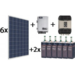 Kit solar TOP de 7000Wh/día de 24V con inversor senoidal de 2400w STUDER para uso permanente
