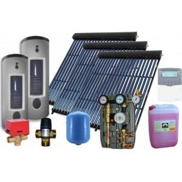 Equipo solar de circulación forzada de 300L para ACS y 500L para calefacción, con 80 tubos de vacío. AM-Sierra Kit Calefacción.