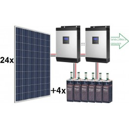 Kit solar ECO de 30.000W/día de 48V con 2 inversores senoidales de 4000w para uso permanente