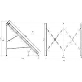 Estructura para suelo con inclinación de 45º para colector 2m-Tubosol