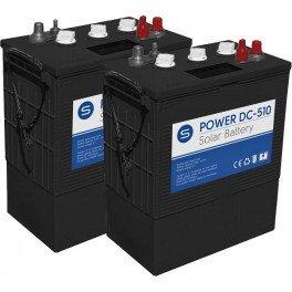 Batería solar de 12V y 510Ah C100. Conjunto de 2 unidades de Batería solar SCL de 6V y 510Ah C100 de ciclo profundo Power DC-510