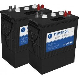 Batería solar de 12V y 395Ah C100. Conjunto de 2 unidades de Batería solar SCL de 6V y 395Ah C100 de ciclo profundo Power DC-395
