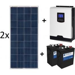 Kit fotovoltaica aislada ECO de 1400Wh/día de 12V con inversor senoidal de 1000w para uso diario