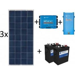 Kit solar de 2000Wh/día de 12V con inversor-cargador de 700w, 3 paneles de 150W y regulador MPPT, para uso diario