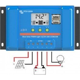 Controlador de carga Victron BlueSolar PWM-LCD y USB de 10A y 12/24v