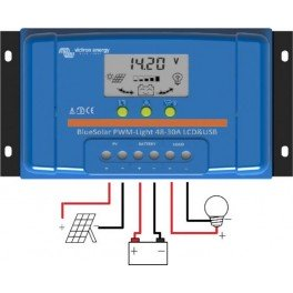 Controlador de carga Victron BlueSolar PWM-LCD y USB de 30A y 12/24v