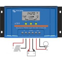 Controlador de carga Victron BlueSolar PWM-LCD y USB de 10A y 48v