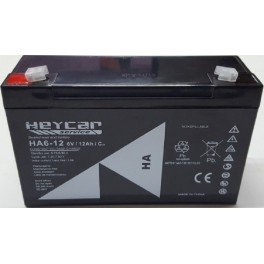 Batería AGM de 6V y 12A HEYCAR HA6-12