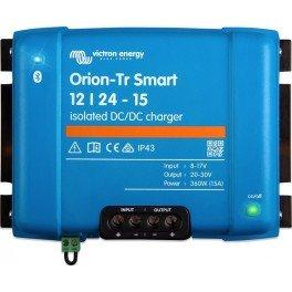 Convertidor DC-DC Orion-Tr Smart aislado de 24V a 12V y 30A utilizable como cargador de batería de 3 etapas.
