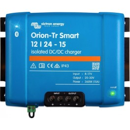 Convertidor DC-DC Orion-Tr Smart aislado de 12V a 24V y 15A utilizable como cargador de batería de 3 etapas.