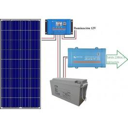 Kit fotovoltaico aislado de 700Wh/día de 12V con inversor senoidal de 650w para uso de fin de semana