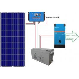 Kit fotovoltaico aislado de 700Wh/día de 12V con inversor senoidal de 1300w para uso de fin de semana