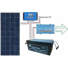 Kit solar de 600Wh/día con inversor senoidal de 200w para uso de fin de semana
