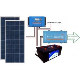 Kit solar de 1100W/día con inversor senoidal de 700w para uso de fin de semana