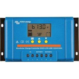 Controlador de carga solar de 20A y 12/24Voltios Blue Solar PWM Duo LCD y USB de la marca Victron