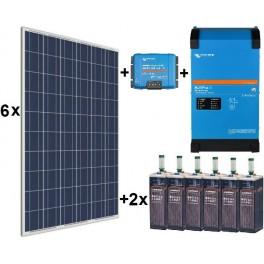 Kit fotovoltaico de 7000Wh/día de 24V con inversor-cargador de 2500w Victron para uso permanente