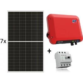 Kit autoconsumo de 2520W sin inyección a red y monitorización, con SMA Sunny Boy 2.5, Energy Meter y paneles