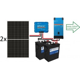 Kit solar de 3000Wh/día de 12V con inversor de 1.600w, 2 paneles de 335W y regulador MPPT, para uso diario