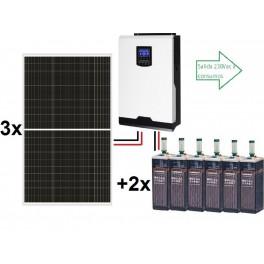 Kit solar aislada ECO de 4500Wh al día, de 24V con inversor-cargador de 3000w para uso permanente