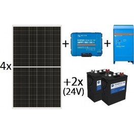 Kit solar aislada de 6500Wh al día, de 24V con inversor-cargador de 1600w para uso diario con PowerDC