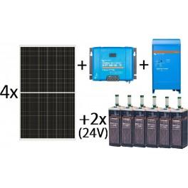 Kit solar aislada de 5000Wh al día, de 24V con inversor-cargador de 1600w para uso permanente con OPzS