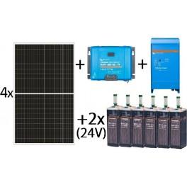 Kit solar aislada de 6000Wh al día, de 24V con inversor-cargador de 1600w para uso permanente