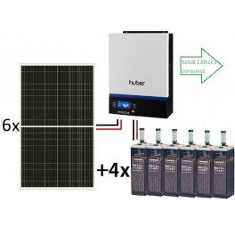 Kit fotovoltaico ECO de 9.500Wh/día de 48V con inversor-cargador de 4000w para uso permanente