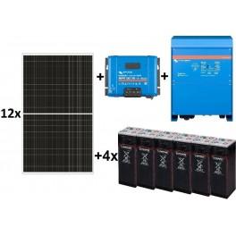 Kit solar aislada TOP de 19.000W/día de 48V con inversor-cargador Victron de 6500W para uso permanente