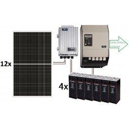 Kit solar aislada TOP de 16.500W/día de 48V con inversor STUDER de 8000VA que incluye cargador, para uso permanente