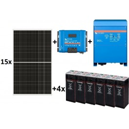 Kit fotovoltaico TOP de 23.000W/día de 48V con inversor senoidal de 6500w para uso permanente