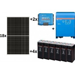 Kit solar TOP de 29.000W/día de 48V con inversor senoidal de 8000w para uso permanente