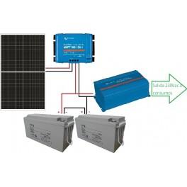 Kit solar fotovoltaico de 1500Wh/día y 24 voltios con inversor senoidal de 650w para uso de fin de semana