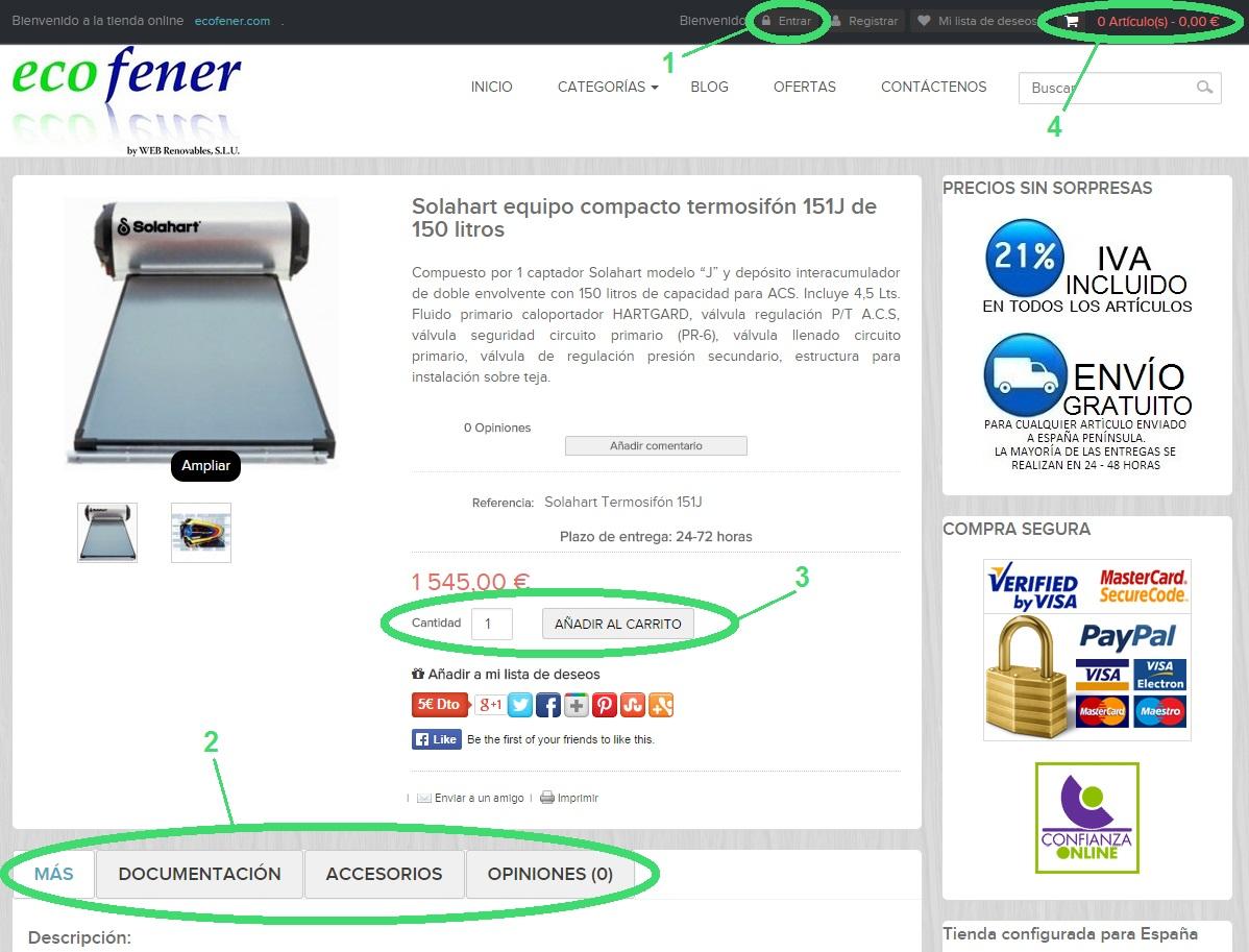Primeros pasos de procedimiento para realizar un pedido en la tienda online http://ecofener.com